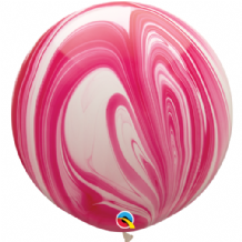 Giant SuperAgate Balloons - Red & White (30 Inch) 2pcs